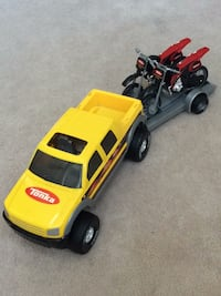 Tonka pick-up truck with trailer and 2 dirt bikes