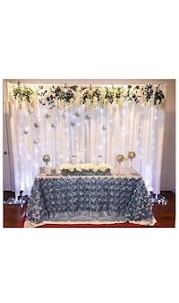 Rent -8.5ft x 10ft Backdrop stand, satin cloth curtain & curtain light