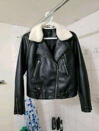 black leather zip-up biker jacket with white fur collar Calgary, T2L 1Y2