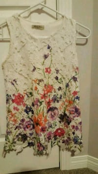white and pink floral sleeveless dress 3121 km