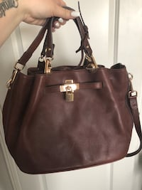 Women's brown leather tote bag New Tecumseth, L0L