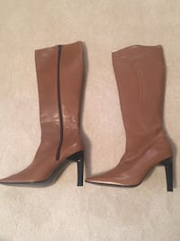 pair of brown leather side-zipped pointed toe stiletto knee-high boots Fairfax Station, 22039
