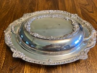 Vintage SHERIDAN SILVERPLATE Divided Glass Insert Covered Serving Dish