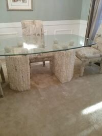 White Rock and Marble glass top table and cloth covered chairs Hanover, 21076