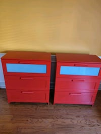 2 Ikea 3 Drawer Chest - Red