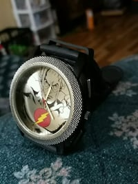 round silver-colored analog watch with black leather strap Riverview, E1B 3G9