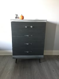 gray wooden 4-layered drawer