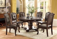 Kiera 2150 Rich Dark Brown Round Dining Set Houston