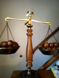 very nice wood & copper adjustable scales.  wooden fruit in scales. Chicago, 60608