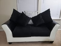 Loveseat with cushions , black and white 2-seat sofa  Carrollton, 75007