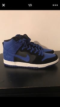 blue-and-black Nike high-top sneakers