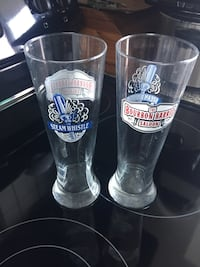 Two steam whistle beer glasses 10 inch with logo Toronto, M4G