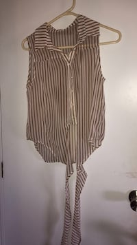 gray and brown stripe collared sleeveless button-up top