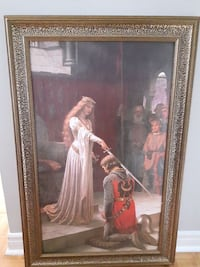 brown wooden framed painting of woman holding sword in front of man Mississauga, L5E 1S3