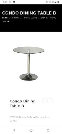 Stainless steel base glass top table Mississauga, L5M