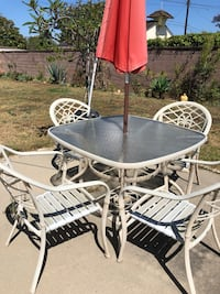 Glass table Patio set - 4 chairs with umbrella Los Angeles, 90045