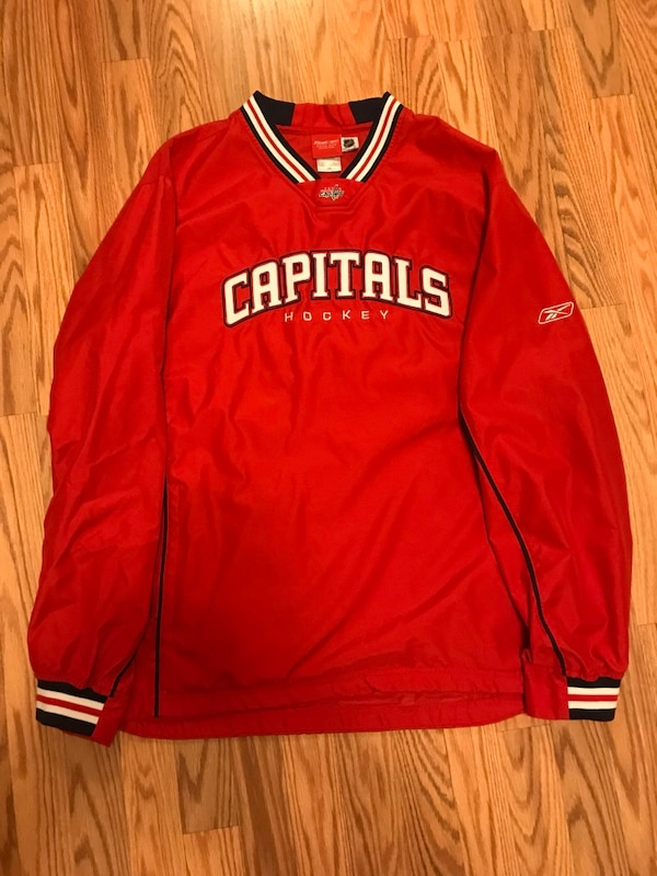 various colors 2f40c 8467f red, white, and black Reebok Capitals Hockey jersey shirt