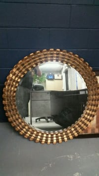 round brown wooden framed mirror Cambridge