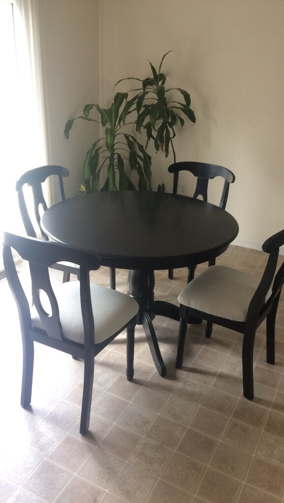 Round Black Wooden Table With Four Chairs Dining Set