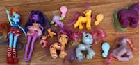 My Little Pony toys and 2 equestrian girls dolls.