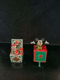 Disney Christmas Mickey Stocking Holder Plus Mickey Music Box