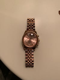 round gold chronograph watch with link bracelet North Vancouver, V7R 3W3
