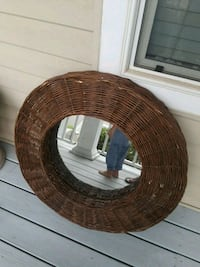 round brown wooden framed mirror Gainesville