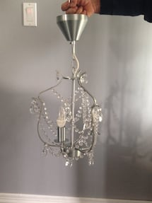Silver Chandelier 3 -armed, glass. Bulbs not included.