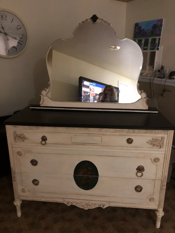 Used Hand Painted Antique Dresser And Mirror For Sale In East Meadow