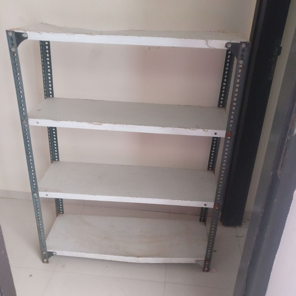 white and black steel rack