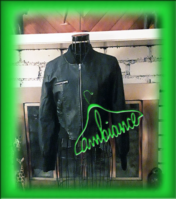 14f2706df Woman's Black Faux Leather Bomber Jacket by Ambiance
