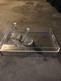 Two crystal decanters and acrylic tray- sold separately or make a great pair Wilton, 06897