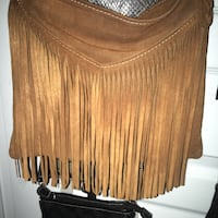 brown fringe leather crossbody bag Vaughan, L4H 3P6
