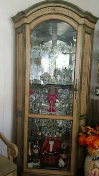 brown wooden framed glass display cabinet Lindenhurst, 11757
