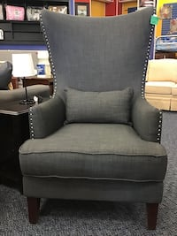 New Grey wing Chair With Nailhead Trim