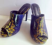 pair of blue-and-yellow slip on shoes