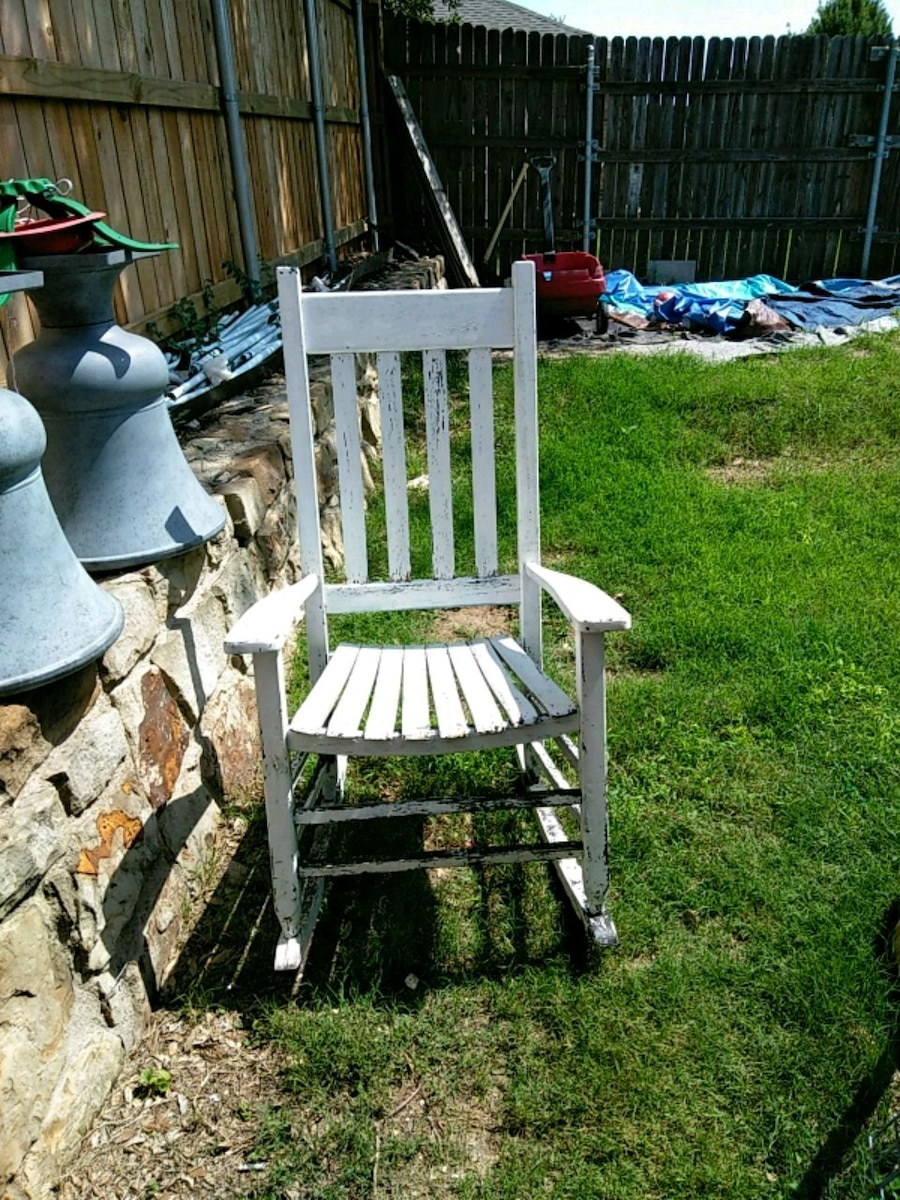 Used White Wooden Rocking Chair With Black And White Floral Pad For Sale In  Frisco   Letgo