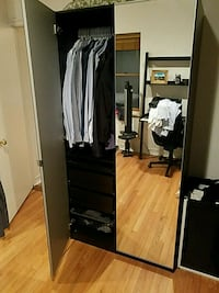 black and white wooden wardrobe with mirror New York, 10014