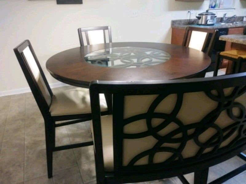 Tall dining table w/bench & 3 chairs ca43003e-f48f-4a72-8d4d-dff504c23b3e