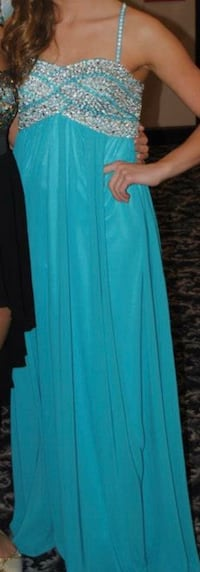 Turquoise Floor-Length Dress with Criss-Crossed Straps Sioux Falls