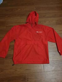 Red half zip champion windbreaker