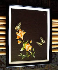 3D butterfly wall art, organic embroidery, real butterfly, roses, unique, 8x12. Westminster. Westminster
