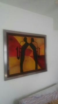 painting of two person playing trombone with silver metal frame Newport News, 23601