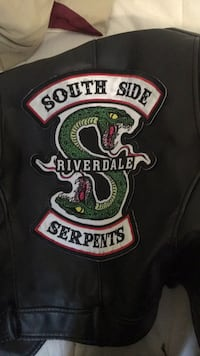 real black leather jacket with south side serpent on the back London, N6H 3Z5
