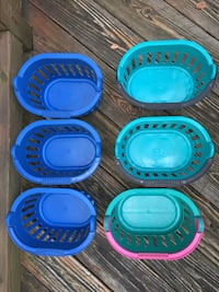 Six blue and green plastic containers Gaithersburg, 20878