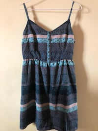 women's brown and blue spaghetti-strap dress