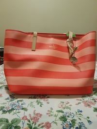 women's pink and beige stripe Kate Spade tote bag