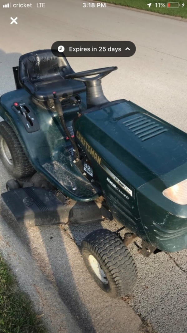 Craftsman hydrostatic lawn riding mower with a 15 5 HP Kohler Command  Engine  Move the lever on the right to go forward and back, the more you  move