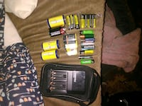 Rechargable battery bay w/ assorted batteries