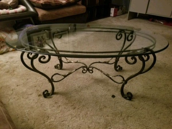 Wrought Iron Glass Coffee Side Tabke